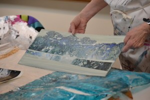 Karen displays another example of a work in process. She often works on several projects simultaneously.