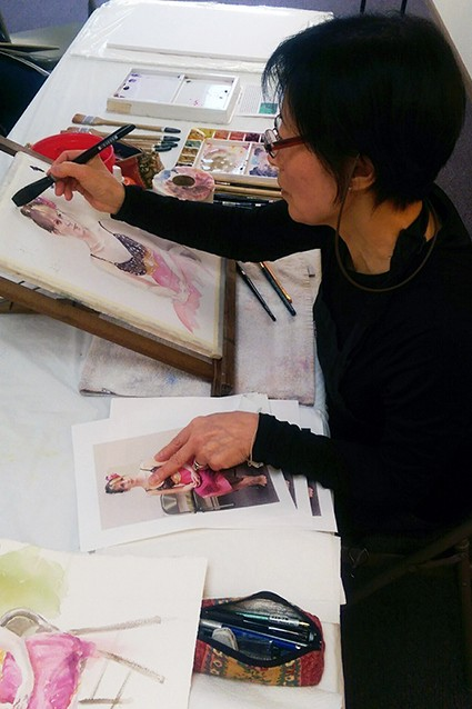 Misuk Goltz demonstrates a watercolor portrait