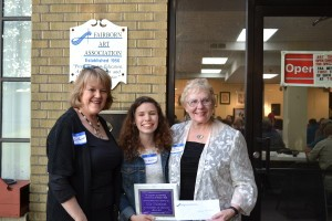 Mila Nickelman receives her Scholarship Award Tuesday, June 2, 2015. (L-R) Susan K. Bennett, Fairmont High School Art Instructor, Mila Nickelman, F.A.A.  President Sandy Kinnamon