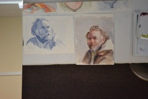 Misuk displayed these two value studies of a portrait subject as she discussed her approach to executing a portrait.