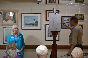 Gregory Dearth demonstrating his drawing technique to the members. Model: Patricia Tallman