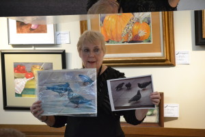 Sandy demonstrates working from a photo she took, and the painting it inspired. She often uses photos as source material for a painting.