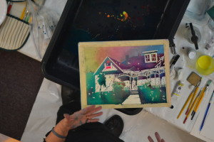 Sandy used this painting in progress as an example of one of the steps in the pouring paint process.