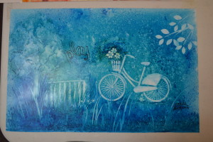 Stencils were used on this work by Louise.
