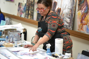 Trish discusses techniques and materials during her demo Tuesday, March 1, 2016.
