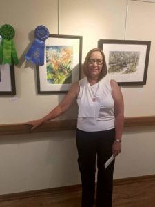 Shirlee Bauer with 1st Place Painting